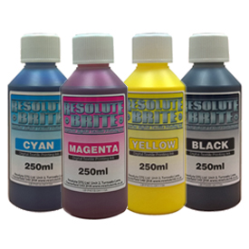 4 x 250ml CMYK Resolute Brite Inkjet DTG Printer Ink